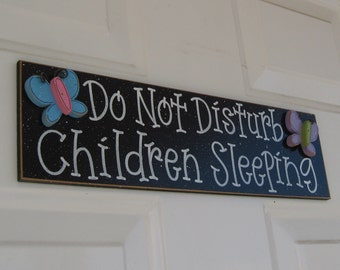 Free Shipping- Do Not Disturb, Children Sleeping sign with butterflies and magnets (black) for home and office hanging sign