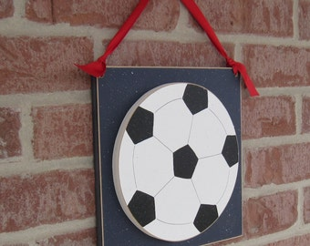 Large 10 inch HANGING SOCCER BALL with red ribbon for boy, wall, door hanger, and bedroom home decor