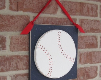 Large 10 inch HANGING BASEBALL with red ribbon for boy, wall, door hanger, and bedroom home decor