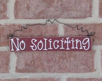 Free Shipping NO SOLICITING SIGN (barn red) for home and office hanging sign