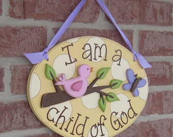 CHILD OF GOD yellow with cream dots, bird on a branch and butterfly sign for girl, wall and room decor