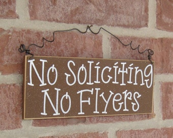 Free Shipping - NO SOLICITING No Flyers SIGN (brown) for home and office hanging sign