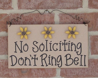 Free Shipping - No SOLICITING Don't Ring Bell Sign with 3 Sunflowers(beige) for home and office hanging sign