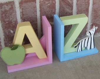 READY TO SHIP A to Z bookends for children library, bookshelf, Apple, Zebra