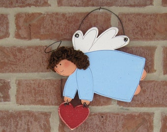 HANGING ANGEL with HEART  for wall, door, tree, holiday, December, xmas, noel and home decor