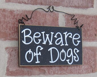 Free Shipping - BEWARE OF DOGS Sign  (Black) for home and office hanging sign