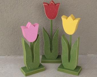 3 Tall Standing Tulip Block Set for Spring decor, Flower decor, Girl room decor,  shelf, desk, office and home decor