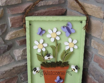 WELCOME FLOWER POT with Daisies, Butterflies and Bees for home decor, door hanger and spring decor with shadow box like frame