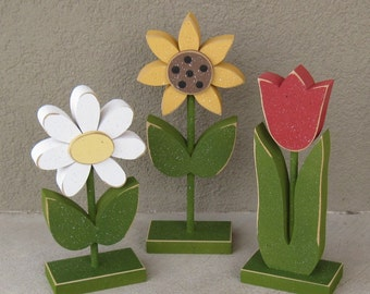 3 Tall Standing Flower Block Set for Spring decor, Flower decor, Girl room decor,  shelf, desk, office and home decor