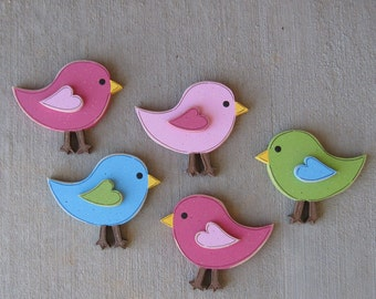 Set of 5 four inch BIRDS for wall hanging bedroom, home or girl room decor