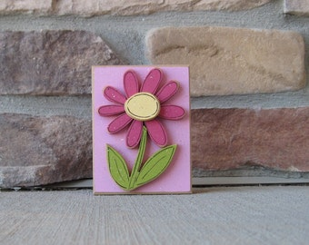 Pink BLOCK with Hot pink DAISY for shelf, desk, office, mantle and home decor