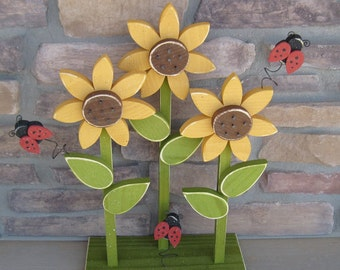 TRIPLE SUNFLOWER on stand with LADYBUGS for home decor, porch, Summer, Autumn and Fall decor