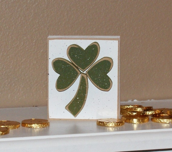 Items similar to small white block with clover for st for St patrick s day home decorations
