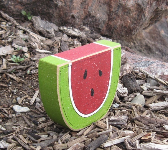 WATERMELON SHAPED BLOCK for Summer, shelf, desk, office and kitchen home decor