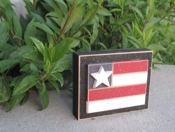 FLAG BLOCK for July 4th, shelf, desk, office and americana home decor