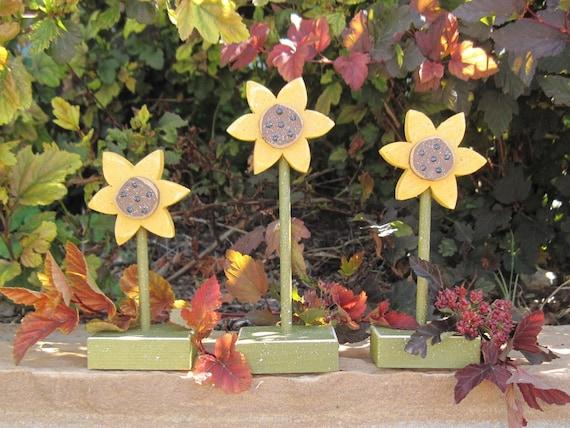 3 STANDING SUNFLOWER SET for Autumn, Fall, shelf, desk, office and home decor
