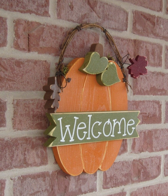 HANGING WELCOME PUMPKIN WITH AUTUMN LEAVES for Fall, wall and door hanging decor