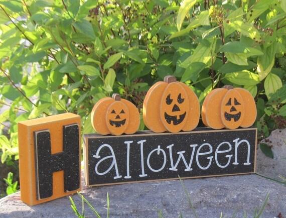HALLOWEEN BLOCKS for home, desk, shelf, mantle, holiday, october, jackolantern, pumpkin, decor