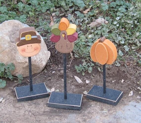3 Tall Standing THANKSGIVING BLOCK SET with Turkey, Pilgrim, Pumpkin for harvest, shelf, desk, office and home decor