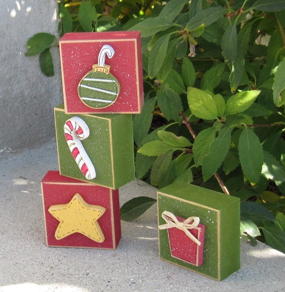 4 BLOCK CHRISTMAS themed set with an ornament, candy cane, present, and star for desk, shelf, mantle, holiday, December, home decor