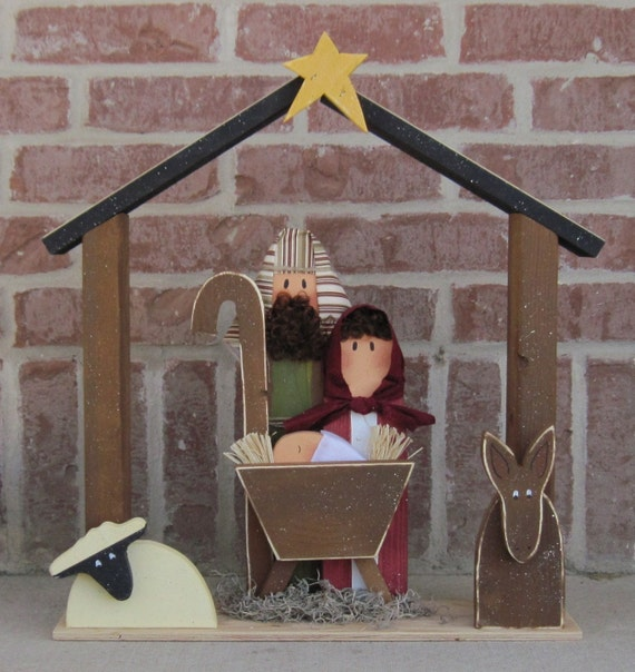LARGE WOOD NATIVITY for Christmas, holiday, Noel, baby jesus, donkey and home decor