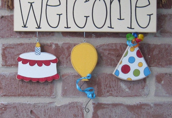MONTHLY WELCOME Birthday  Decorations (no sign included) for wall and home decor
