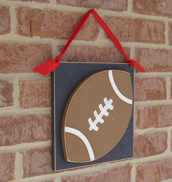 Large 10 inch HANGING FOOTBALL with red ribbon for boy, wall, door hanger, and bedroom home decor
