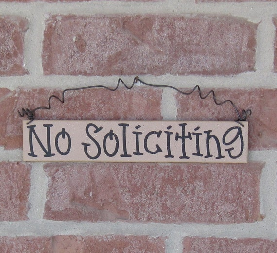 Free Shipping - NO SOLICITING SIGN (beige) for home and office hanging sign