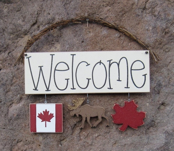 Canada decorations with welcome sign for wall and home decor for Welcome home decorations