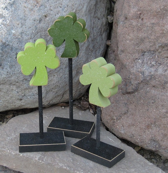 3 Tall Standing Clover Block Set for St Patricks Day decor, March decor, shelf, desk, office and home decor