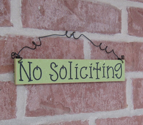 Free Shipping - NO SOLICITING SIGN (Sage Green) for home and office hanging sign