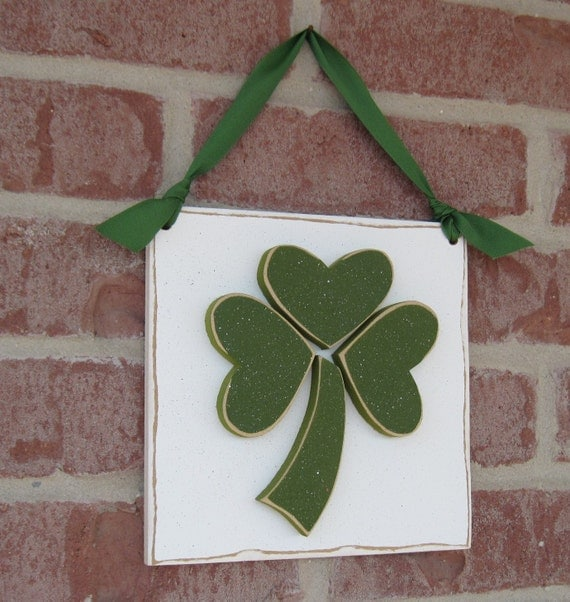 HANGING CLOVER or SHAMROCK with ribbon for St. Patricks Day, wall, door hanger, and  home decor