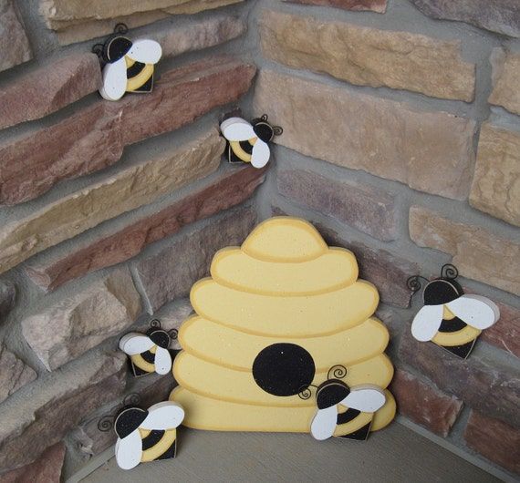 BEE HIVE and BEES for home decor, bee themed decor, and girl room decor