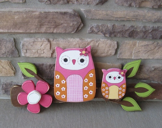 Owls on a Branch with a Hot pink flower for home decor, door hanger, wall decor, mothers day, summer and spring decor