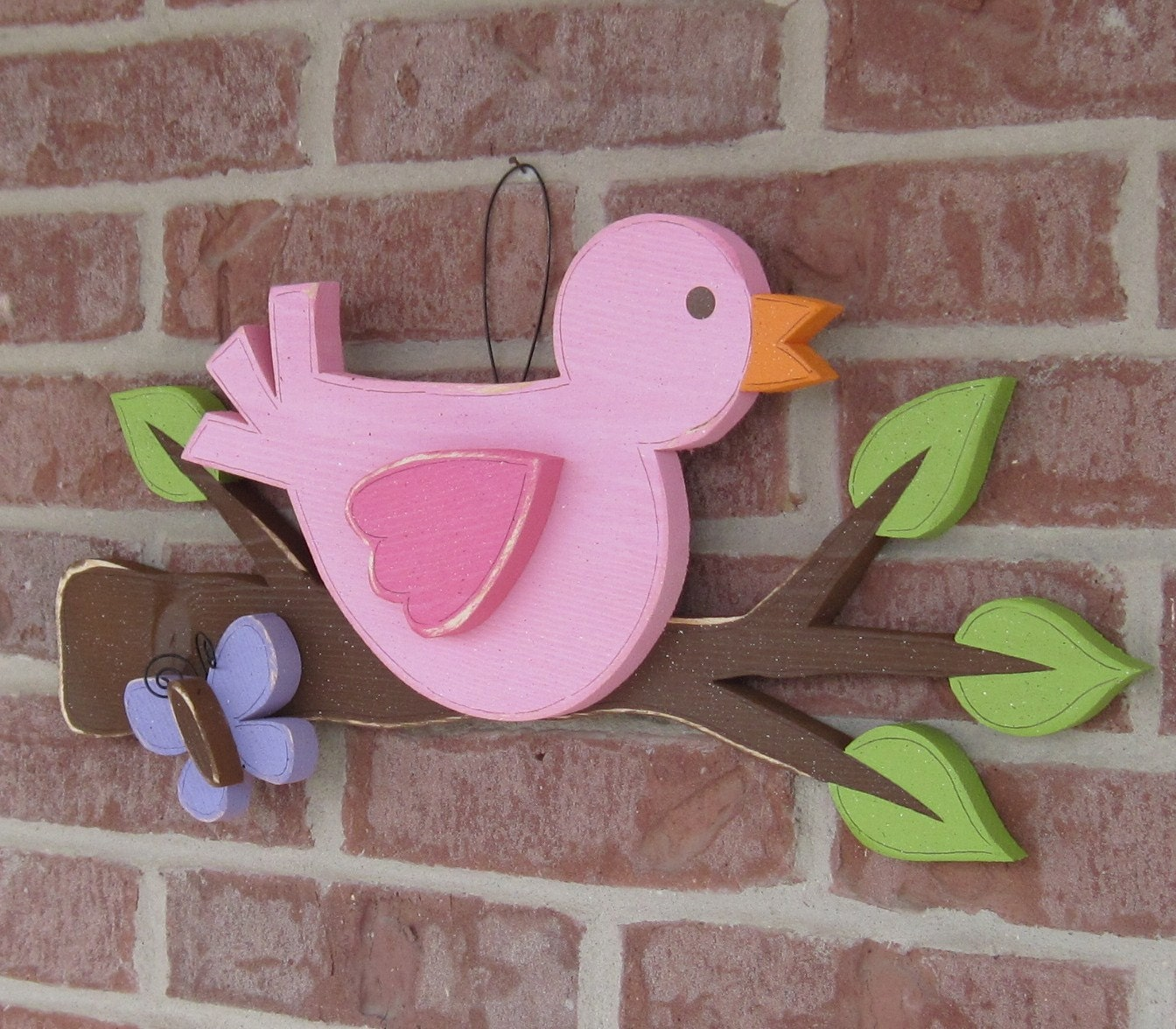 Bird On A Branch With A Butterfly For Home Decor Door Hanger