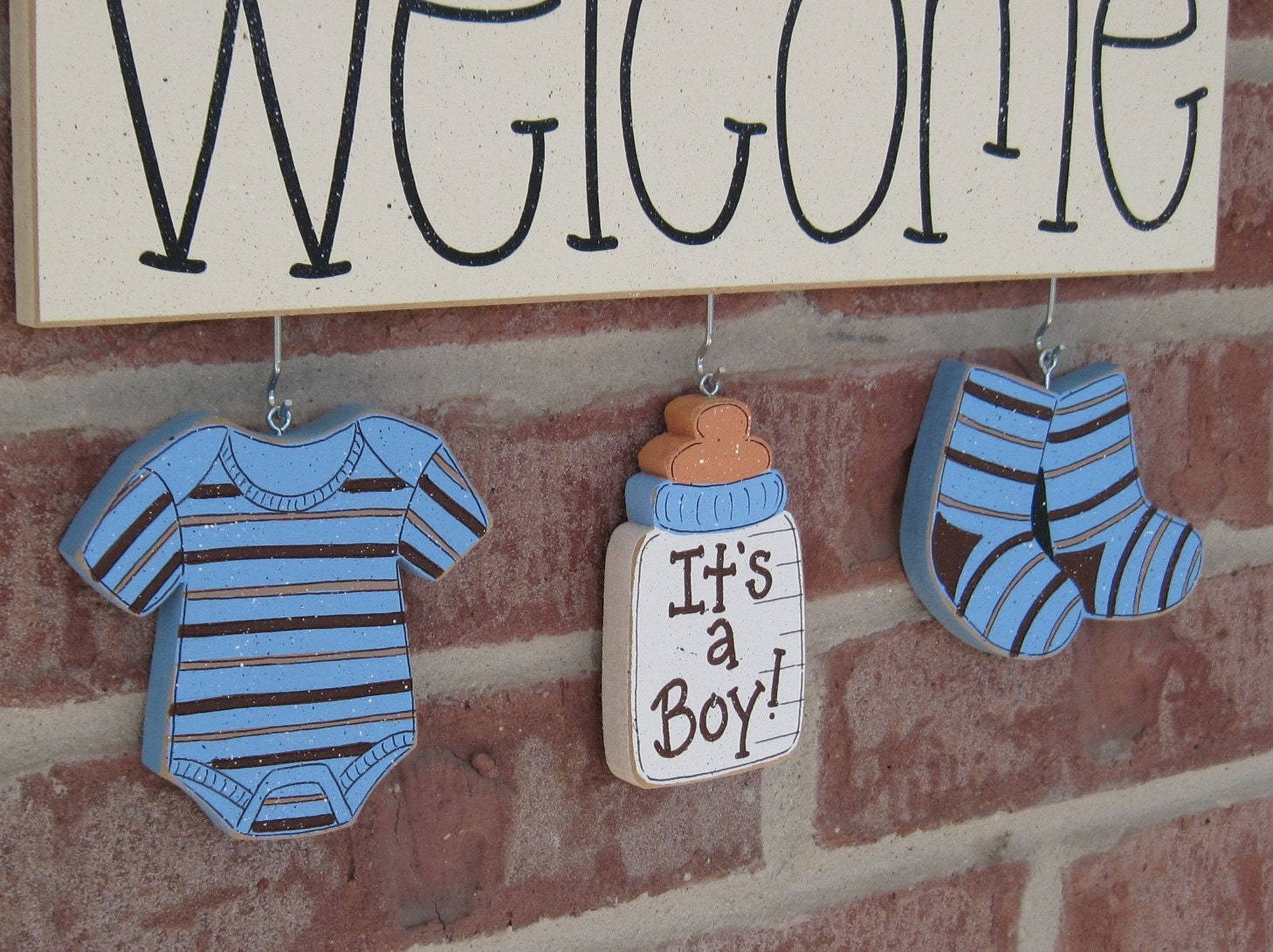Welcome its a boy decorations no sign included for by lisabees for Baby welcome home decoration