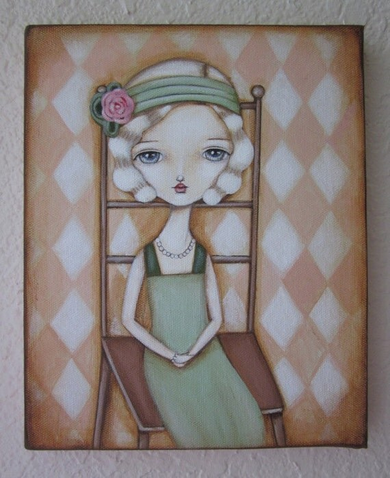 SALE-Original Painting on Canvas-Fanny the Flapper Girl