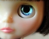 Hand painted eye chips for Blythe - light teal/dark blue (enlarged pupil)