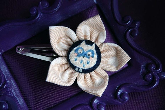 SALE Bashful Owl Navy and Beige Hair Flower, Hair Accessories by Indy and the Ninja on Etsy