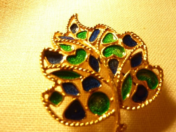Vintage Signed Florenza Leaf Brooch Blue and Green Stones on gold tone Free US Shipping