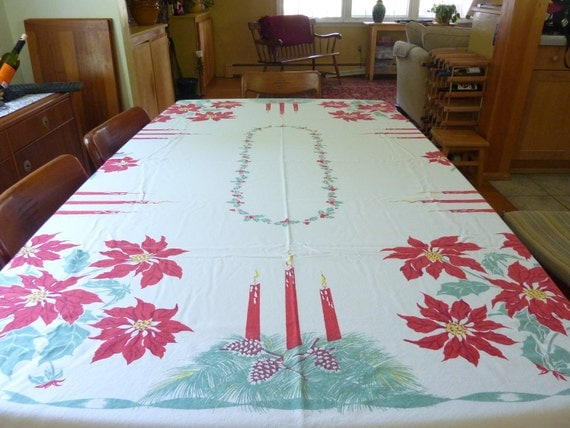Rare Vintage large  Christmas Pointsetta Tablecloth  60x 78 Free Shipping