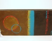 Abstract painting on wood canvas --  RELEASE.  brown gold bronze turquoise red, gift for men or women