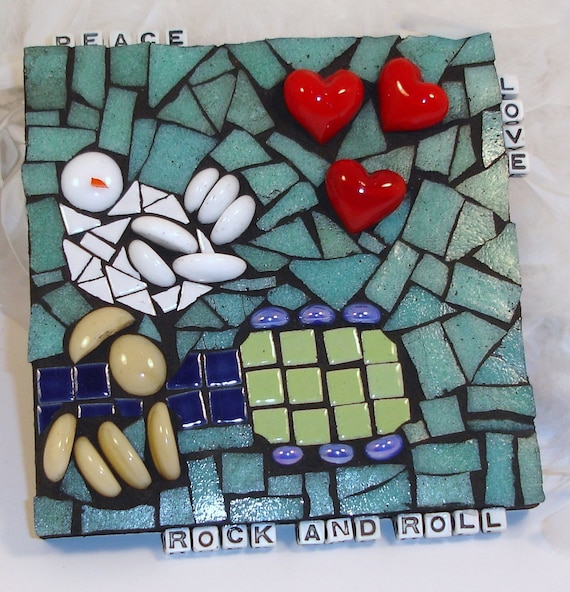 JillsBirthday Sale--  PEACE, LOVE, ROCK AND ROLL (Woodstock-inspired) -- original Woodstock mosaic..dove, guitar, heart, signed