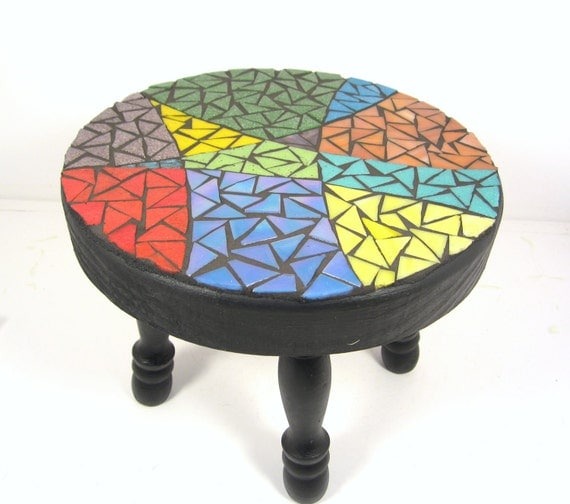 Mosaicked STOOL - brightly colored, for kids or adults