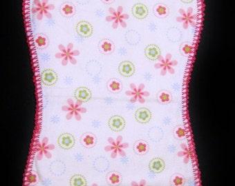 Baby Girls Pink Flowers Burp Cloth (Hemstitch, crochet)