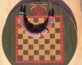 Primitive Folk Art Round Checkerboard