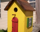 Yellow Birdhouse with Red Door, and Green Shutters