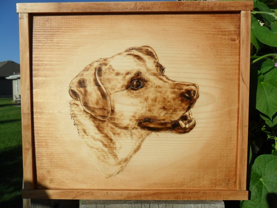 Pet Portrait Wood Burned Custom Made of Your Pet