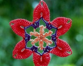 Crochet doily lace flower suncatcher mandala peach coral violet beaded