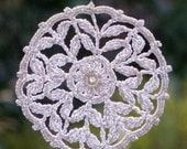 Dreamcatcher mandala crochet lace window hanger doily white beaded